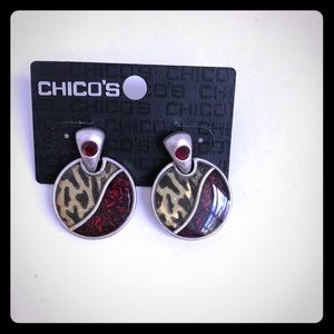 NWT Ruby and Leopard Earrings from Chico's 💝
